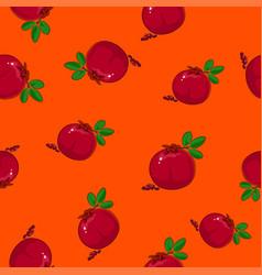 seamless pattern pomegranate on orange background vector image