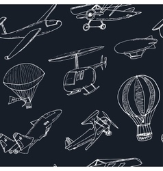 Doodle aviation seamless pattern Vintage vector image vector image