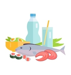 Food Concept in Flat Style Design vector image vector image
