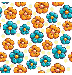 seamless texture with blue and yellow flowers vector image