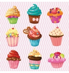 Set of Cakes nine different cakes vector image vector image