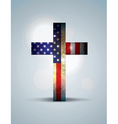 American Flag and Christian Cross vector image vector image