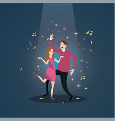 Couple dance together celebration under spot light vector