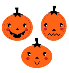Cute Pumpkin heads isolated on white vector image