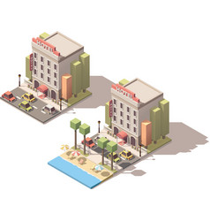 isometric hotel building vector image