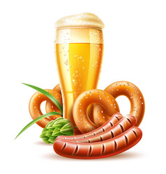 3d lager beer glass pretzel and sausage vector