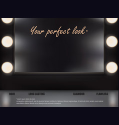 3d make-up table with mirror and spotlights vector