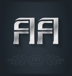 Aa - metallic 3d icon or logotype template design vector