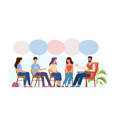 addiction treatment concept group therapy people vector image