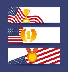 awards trophy medal united states of america flag vector image