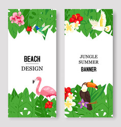 beach design jungle summer set banners vector image