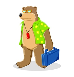 Bear in beach shirt vector