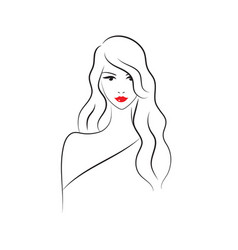 Beautiful fashion model with long hair vector