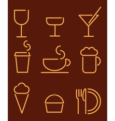 beverage and food set icons vector image