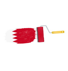 brush stroke with bahrain national flag isolated vector image