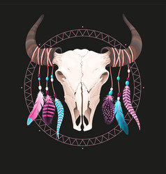 Buffalo skull with feathers vector