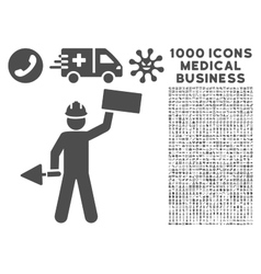 Builder Icon with 1000 Medical Business Symbols vector image