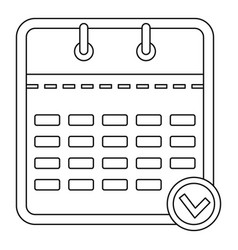 business calendar icon outline style vector image