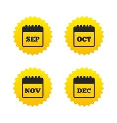 Calendar September November October December vector image