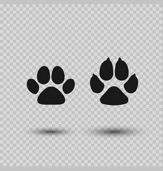 cat and dog paw print pets paw silhouette vector image