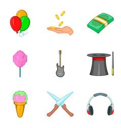 children concert icons set cartoon style vector image vector image