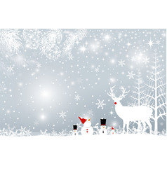 Christmas background design of reindeer and pine vector