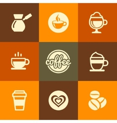 Coffee Icons Set in Flat Design Color Style vector image