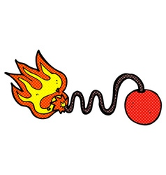 comic cartoon bomb with burning fuse vector image