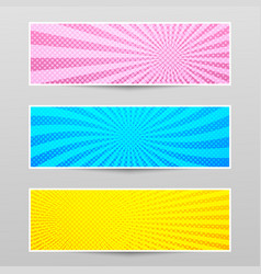 Comic shiny horizontal banners vector