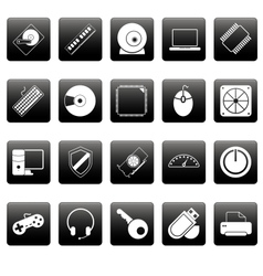 Computer icons on black squares vector image