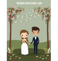 Cute couple in wedding invitations card vector