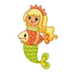 Cute mermaid smiles and holds a large fish in her vector