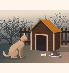Dog sitting next to the kennel in the yard vector