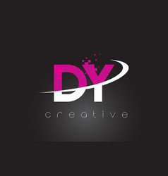 Dy d y creative letters design with white pink vector