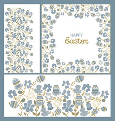 easter ornament frame flowers and paschals eggs vector image vector image