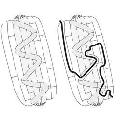 Easy hot dog maze vector