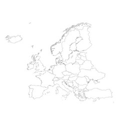 Europe outline silhouette map with countries vector
