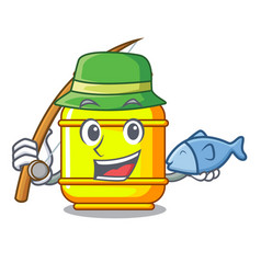 Fishing creative in gas cartoon tank container vector
