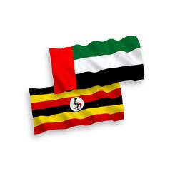 Flags uganda and united arab emirates vector
