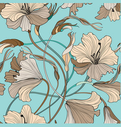 Floral seamless pattern flower bloom bouquet vector