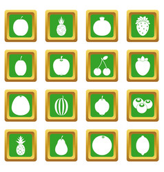 Fruit icons set green vector