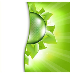 Green Eco Background With Leafs And Globe vector