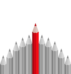 Group of pencils with one highlighted as business vector
