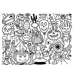 halloween hand drawn doodle vector image