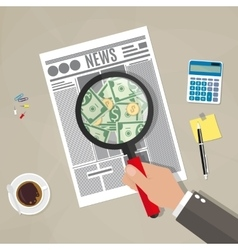 Hand checking newspaper vector image