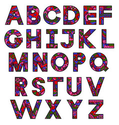Hand drawing painted alphabet colorful letters vector