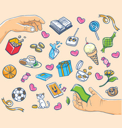 Hands and mix icon vector