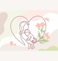 happy mother day card continuous one line drawing vector image