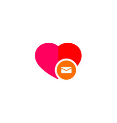 heart mail icon on white background vector image