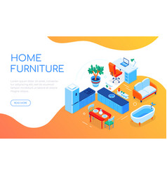 home furniture - modern colorful isometric web vector image